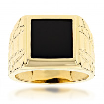 Mens Black Onyx Ring in 14K Yellow Gold