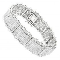 Mens Bracelets: 10K Gold Pave Diamond Bracelet 5.25ct