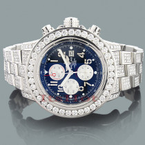 Mens Custom Breitling Super Avenger Diamond Watch 23.78ct