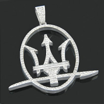 Mens Custom Jewelry 14K Gold Maserati Logo Pendant 3.45