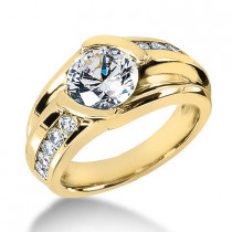 Mens Designer Diamond Ring 1.5 carat 18K Gold G/VS Diamonds by Luxurman