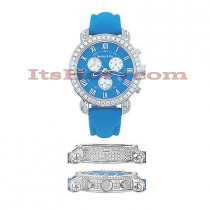 Mens Diamond Benny and Company Watch 6ct Blue