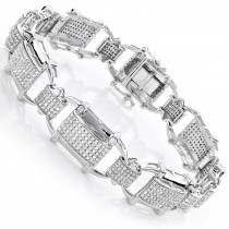 Mens Diamond Bracelets: 10K Gold 3.29ct