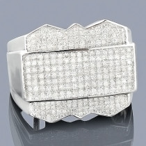 Mens Diamond Ring 0.95ct 10K Gold