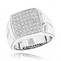Mens Diamond Ring 14 Gold Pave Diamond Ring 0.95ct
