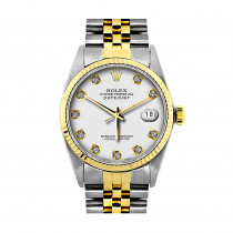 Mens Diamond Rolex Oyster Perpetual Datejust Gold & Stainless Steel Watch