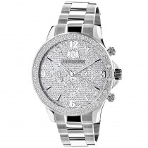 Mens Real Diamond Watch by Luxurman Liberty 0.2ct Swiss Mvt w Steel Band