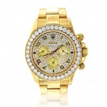 Men's Diamond Watches: 18K Yellow Gold Rolex Cosmograph Daytona Watch 7ct