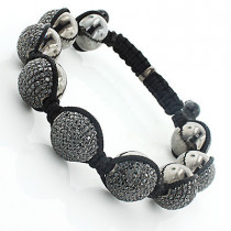 Mens Disco Ball Jewelry: Black Stones Bracelet