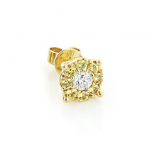 Mens Earrings: Yellow Sapphires White Diamond Studs 1/2ct 18K Gold
