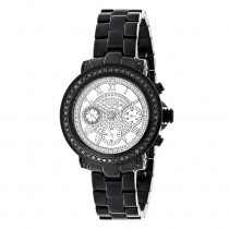 Mens Ladies Diamond Watches: Luxurman Black Diamond Watch