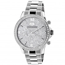 Mens Luxurman Watches: Large Diamond Bezel Watch 2ct Swiss Mvt