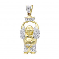 Mens Mini Laughing Buddha Pendant with Diamonds in Real 10k Gold 0.33ct