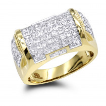 Mens Princess Cut Diamond Ring 3.62ct 14K Luxury Jewelry