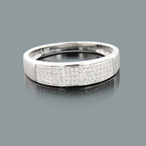 Mens Silver Diamond Wedding Band 0.17ct