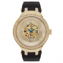 Mens Skeleton Joe Rodeo Diamond Watch 2.2ct Yellow