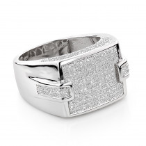 Mens Sterling Rings: Affordable Silver Diamond Ring 0.7ct