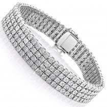 Mens Sterling Silver Bracelets: 4 Row Diamond Bracelet 0.63ct