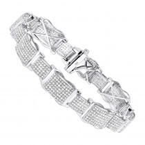 Mens Sterling Silver Diamond Bracelet 4 ct