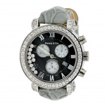 Mens VS Diamond Benny and Co Watch Collection 3ct Grey Swiss Chronograph