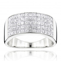Mens Wide Wedding Band with Princess Cut Diamonds 2.11ct 14K Gold