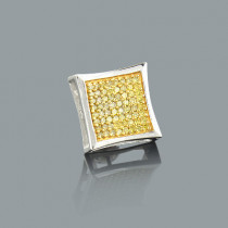Mens Yellow Diamond Stud Earring 0.32ct 14K Gold