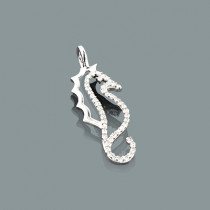 Mini Diamond Pendants: 10K Gold Seahorse Pendant 0.17ct Charm
