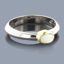 Thin Mother Of Pearl 18K Sterling Silver Ring