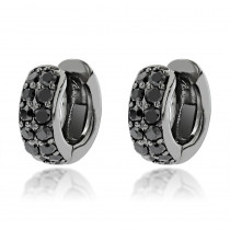 One Carat Black Diamond Hoops 14K Gold Huggie Earrings by Luxurman