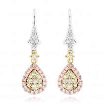 One Carat Ladies White Yellow Pink Diamond Drop Earrings 14K Gold