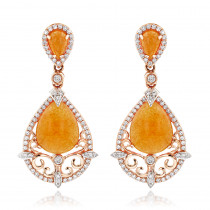 Orange Aventurine Gemstone Diamond Earrings 7.56ct 14K Gold