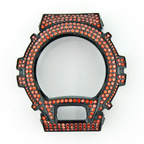 Orange G-Shock Bezel with Crystals Iced Out