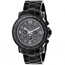 Oversized Men's Black Diamond Watch Iced Out Luxurman w Chronograph