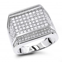 Oversized Mens Diamond Ring 2.5 ctw 14K Gold