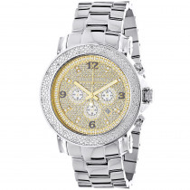 Oversized Men's Diamond Watch 0.25ct Luxurman Escalade Two Tone Chronograph