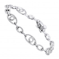 Pave Bracelets 14K Gold Ladies Diamond Bracelet 1.2ct