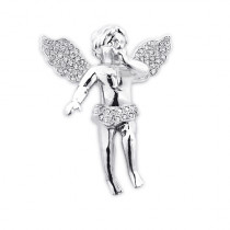 Pave Diamond Angel Pendant 14K Gold 0.88ct Small Angel Charm