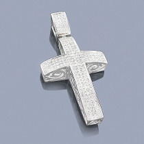 Pave Diamond Cross Pendant 1.48ct Sterling Silver