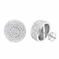 14k Gold Studs Pave Diamond Earrings 2.3ct