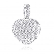Pave Diamond Heart Pendant 14K Gold 0.8ct