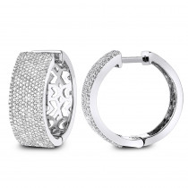 Pave Diamond Hoop Earrings 1.75ct 14K