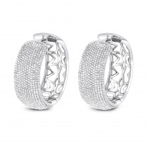 Pave Diamond Large Hoop Earrings 3.59ct 14K Gold