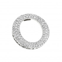 Pave Diamond O Pendant 0.4ct 14K Gold Circle Jewelry