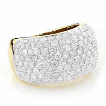 Pave Diamond Rings 14K Gold Round Diamond Band 4 ct