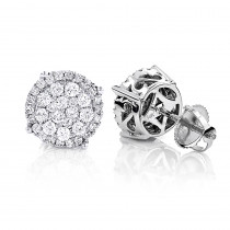 Pave Diamond Stud Earrings 0.9ct 14K Gold