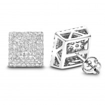 Pave Diamond Stud Earrings 1.31ct 14K