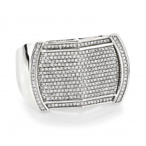 Pave Mens Diamond Ring 0.65ct 10K Gold Unique Band