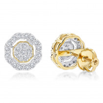 Pave Round Diamond Earrings 0.28ct 10K Gold