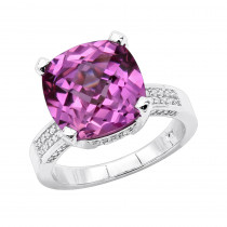 Pink Sapphire Diamond Rings: 14K Gold Cocktail Ring 0.46ct