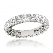 Platinum 4 Carat Asscher Cut Diamond Eternity Band  Anniversary Ring